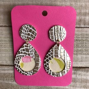 NWT Faux Leather Earrings, Metallic/White/Pink